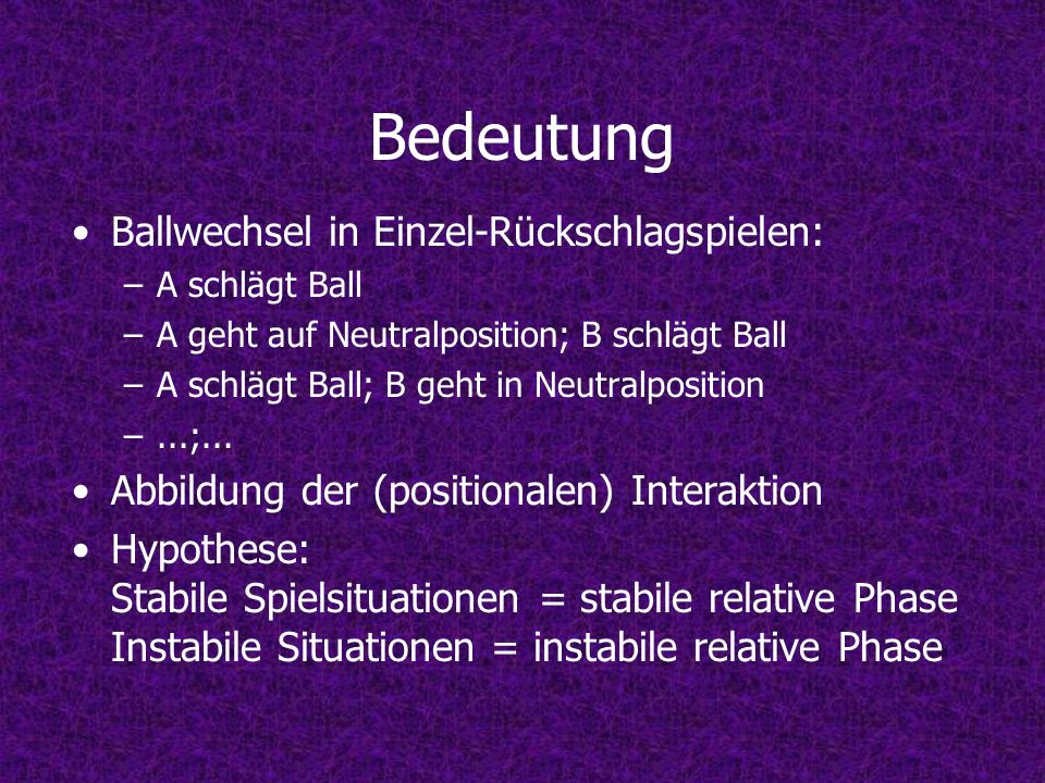 Bedeutung Ballwechsel in Einzel-Rückschlagspielen: –A schlägt Ball –A geht auf Neutralposition; B schlägt Ball –A schlägt Ball; B geht in Neutralposition –...;...