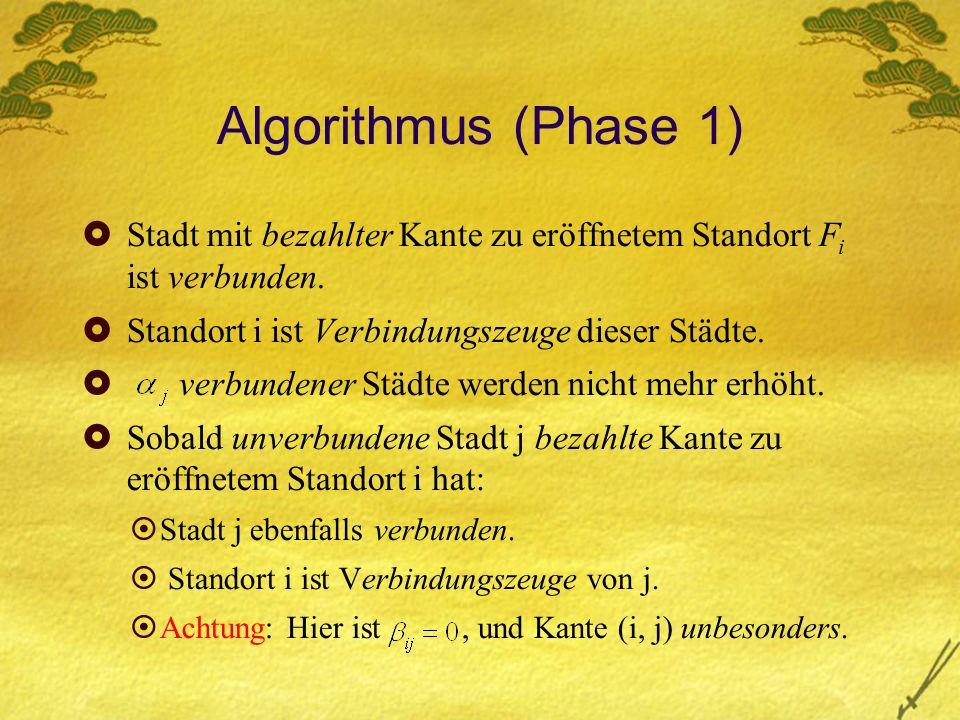 Algorithmus (Phase 1) Stadt mit bezahlter Kante zu eröffnetem Standort F i ist verbunden.