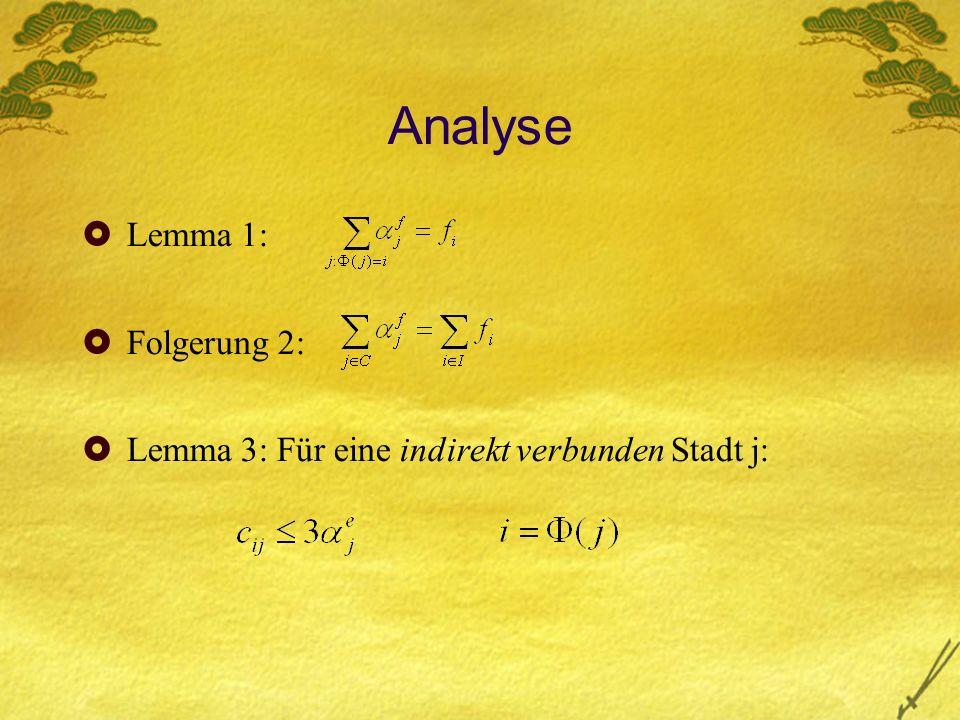 Analyse Lemma 1: Folgerung 2: Lemma 3: Für eine indirekt verbunden Stadt j: