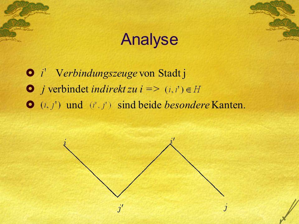 Analyse Verbindungszeuge von Stadt j j verbindet indirekt zu i => und sind beide besondere Kanten.