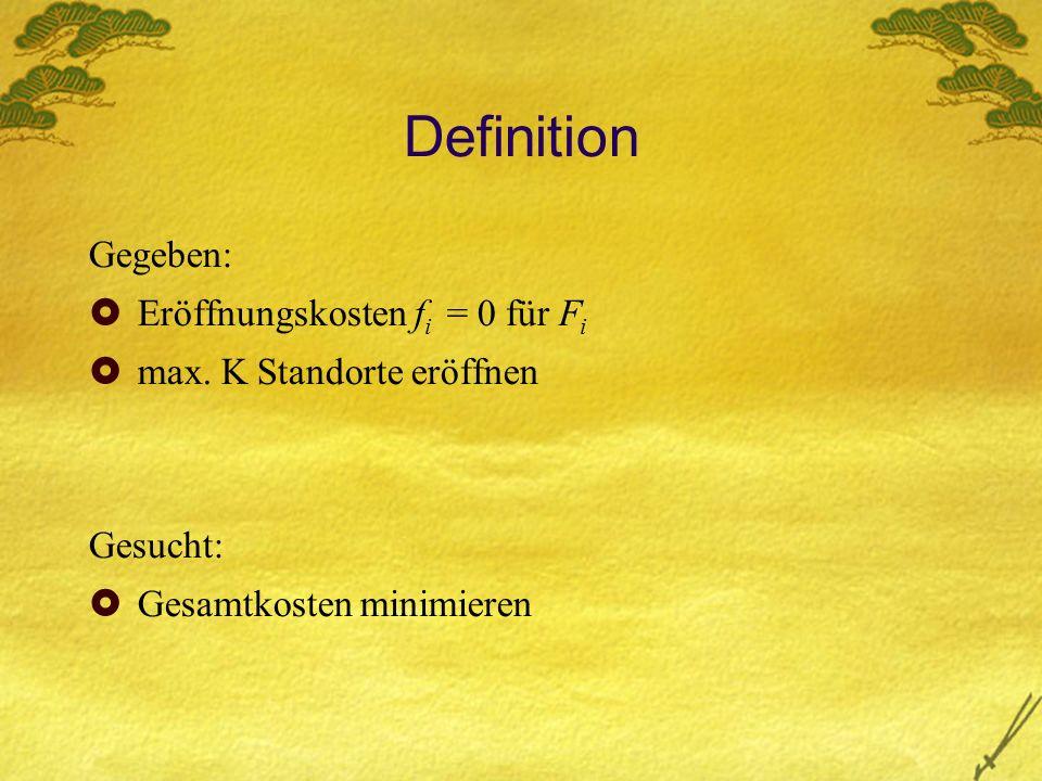 Definition Gegeben: Eröffnungskosten f i = 0 für F i max.