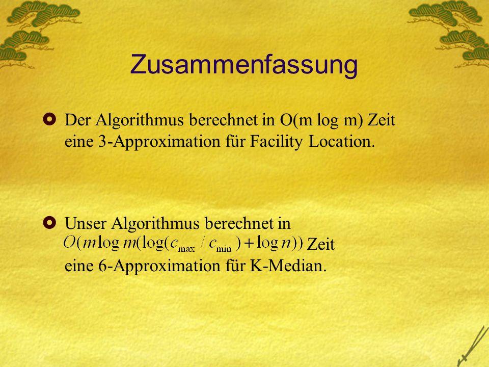 Zusammenfassung Der Algorithmus berechnet in O(m log m) Zeit eine 3-Approximation für Facility Location.