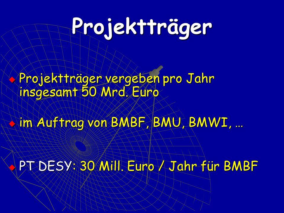 Projektträger Projektträger vergeben pro Jahr insgesamt 50 Mrd.