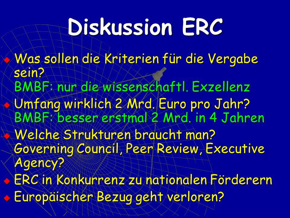 Diskussion ERC Was sollen die Kriterien für die Vergabe sein.