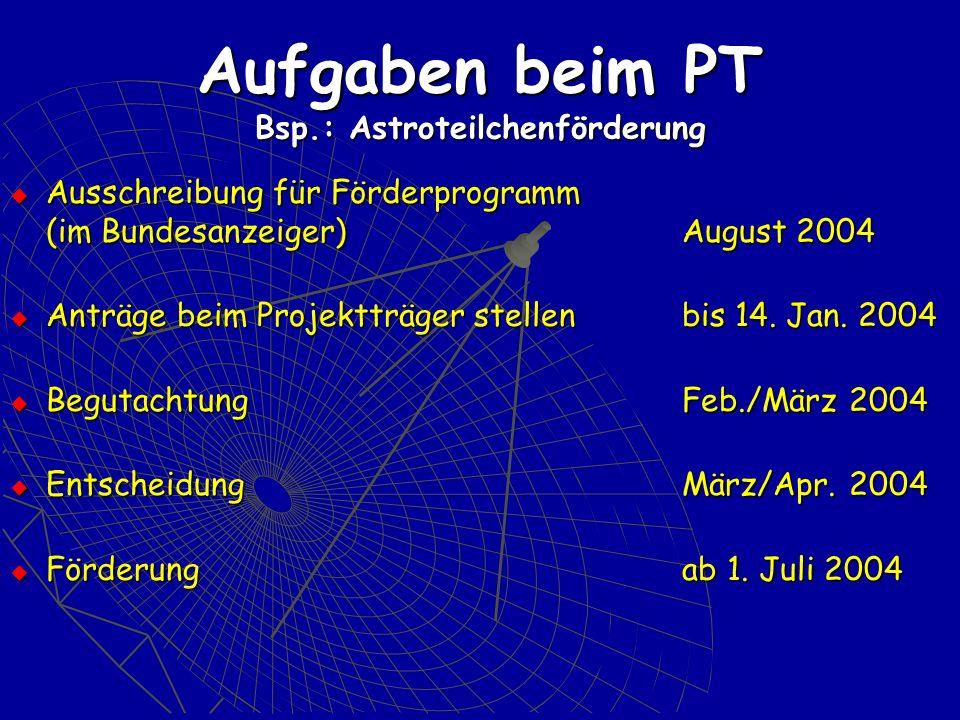 Aufgaben beim PT Bsp.: Astroteilchenförderung Ausschreibung für Förderprogramm (im Bundesanzeiger)August 2004 Ausschreibung für Förderprogramm (im Bundesanzeiger)August 2004 Anträge beim Projektträger stellen bis 14.