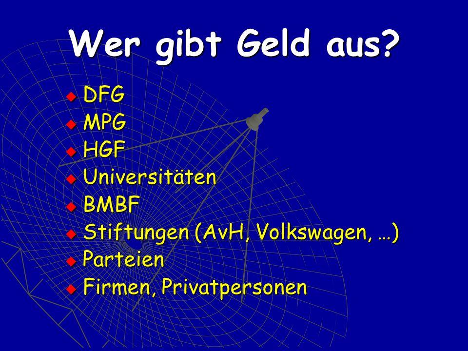 DFG Deutsche Forschungsgemeinschaft Förderung der Wissenschaft in allen Zweigen: Förderung der Zusammenarbeit unter den Forschern, Nachwuchsförderung Pflege der Verbindungen der Forschung zur ausländischen Wissenschaft 2003: 1,3 Mrd.