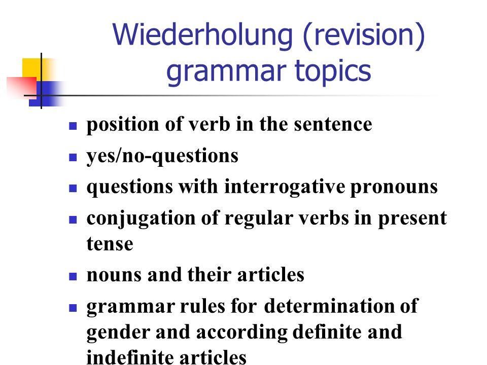 Wiederholung (revision) grammar irregular verbs with change of vowel in 2.
