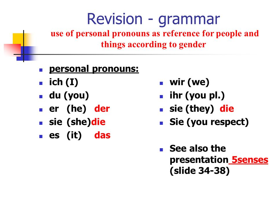 Revision - grammar use of personal pronouns as reference for people and things according to gender personal pronouns: ich (I) du (you) er(he)der sie(s