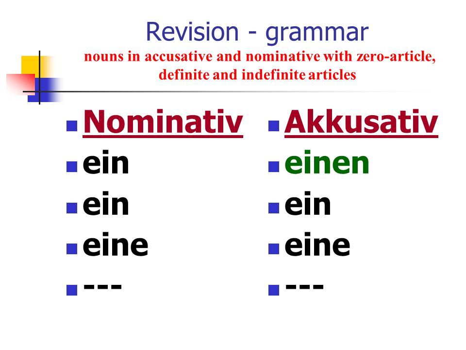 Revision - grammar nouns in accusative and nominative with zero-article, definite and indefinite articles Nominativ ein eine --- Akkusativ einen ein e