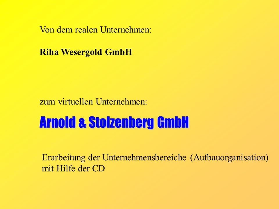 Von dem realen Unternehmen: Riha Wesergold GmbH zum virtuellen Unternehmen: Erarbeitung der Unternehmensbereiche (Aufbauorganisation) mit Hilfe der CD