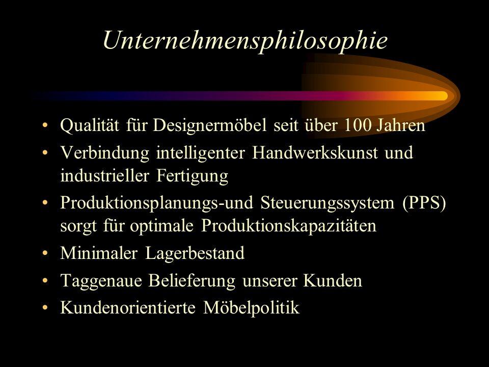 Unternehmensphilosophie Qualität für Designermöbel seit über 100 Jahren Verbindung intelligenter Handwerkskunst und industrieller Fertigung Produktion