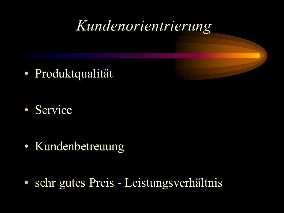 Kundenorientrierung Produktqualität Service Kundenbetreuung sehr gutes Preis - Leistungsverhältnis
