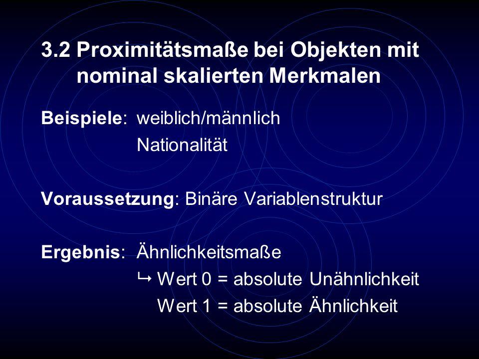 3.2 Proximitätsmaße bei Objekten mit nominal skalierten Merkmalen Beispiele: weiblich/männlich Nationalität Voraussetzung: Binäre Variablenstruktur Er