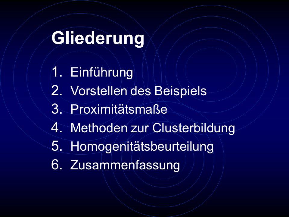 Gliederung 1. Einführung 2. Vorstellen des Beispiels 3. Proximitätsmaße 4. Methoden zur Clusterbildung 5. Homogenitätsbeurteilung 6. Zusammenfassung