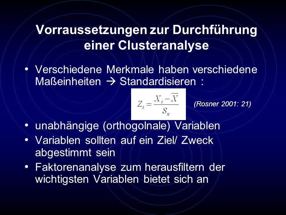 Vorraussetzungen zur Durchführung einer Clusteranalyse Verschiedene Merkmale haben verschiedene Maßeinheiten Standardisieren : unabhängige (orthogolna