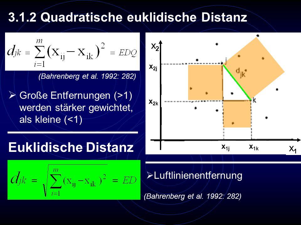 3.1.2 Quadratische euklidische Distanz Große Entfernungen (>1) werden stärker gewichtet, als kleine (<1) Euklidische Distanz Luftlinienentfernung x 2j