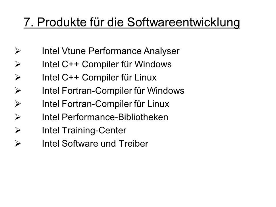 7. Produkte für die Softwareentwicklung Intel Vtune Performance Analyser Intel C++ Compiler für Windows Intel C++ Compiler für Linux Intel Fortran-Com