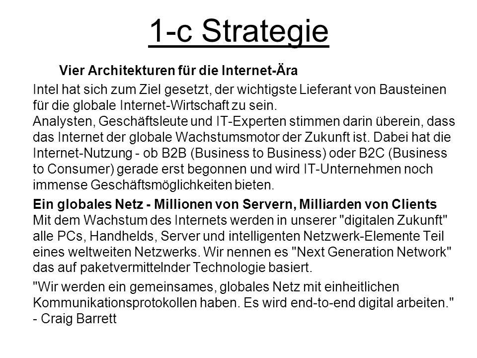 1-c Strategie Vier Architekturen für die Internet-Ära Intel hat sich zum Ziel gesetzt, der wichtigste Lieferant von Bausteinen für die globale Interne