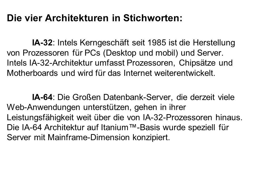 Die vier Architekturen in Stichworten: IA-32: Intels Kerngeschäft seit 1985 ist die Herstellung von Prozessoren für PCs (Desktop und mobil) und Server