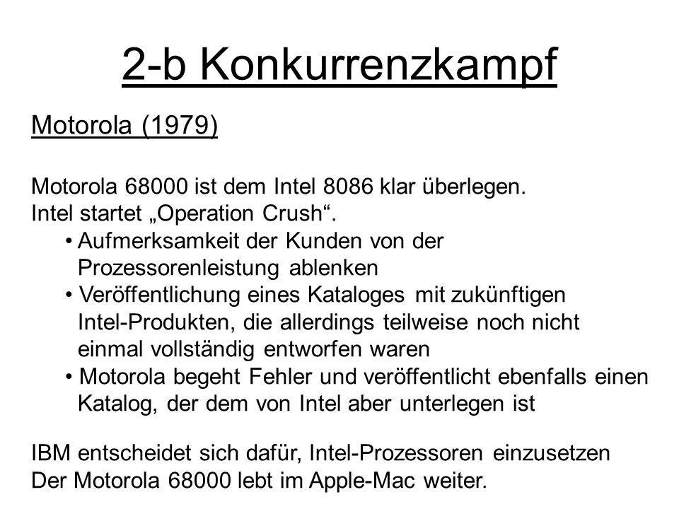 2-b Konkurrenzkampf Motorola (1979) Motorola 68000 ist dem Intel 8086 klar überlegen. Intel startet Operation Crush. Aufmerksamkeit der Kunden von der