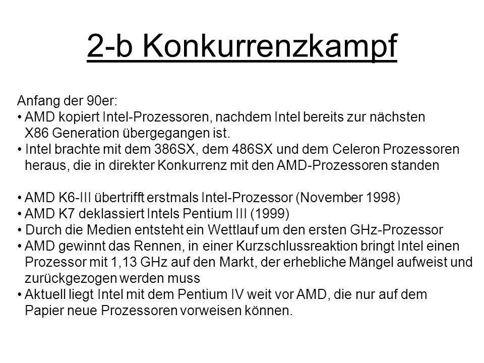 2-b Konkurrenzkampf Anfang der 90er: AMD kopiert Intel-Prozessoren, nachdem Intel bereits zur nächsten X86 Generation übergegangen ist. Intel brachte