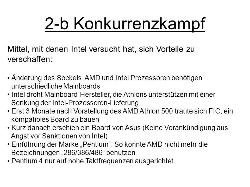 2-b Konkurrenzkampf Mittel, mit denen Intel versucht hat, sich Vorteile zu verschaffen: Änderung des Sockels. AMD und Intel Prozessoren benötigen unte