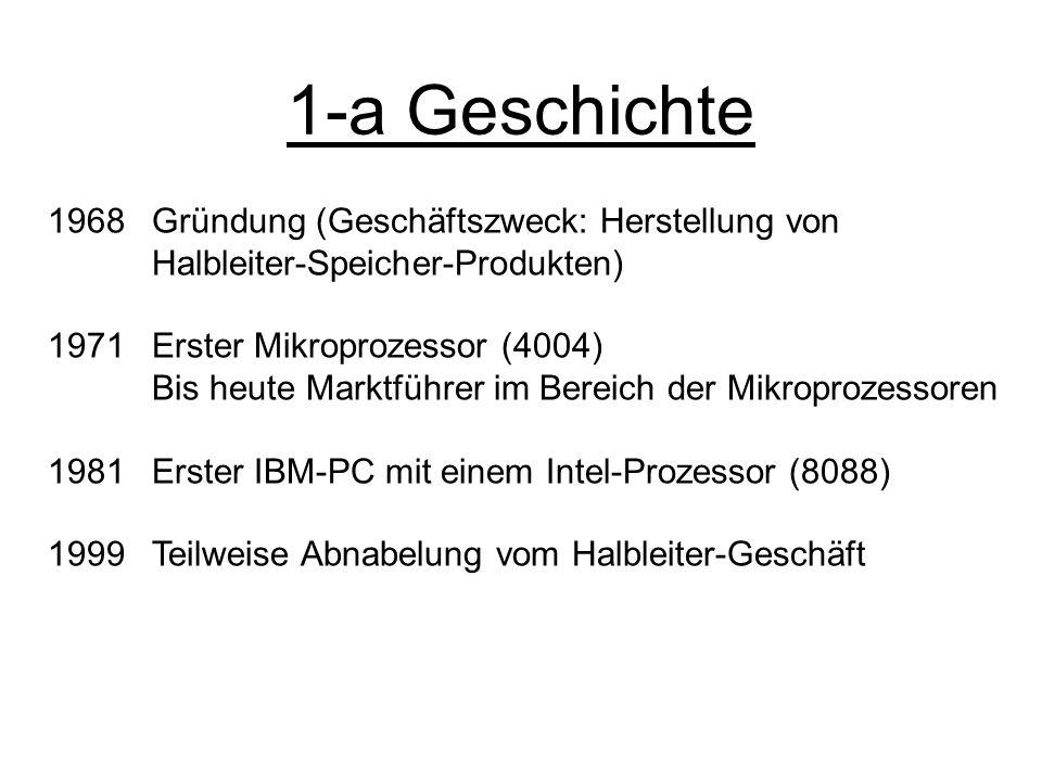 1-a Geschichte 1968 Gründung (Geschäftszweck: Herstellung von Halbleiter-Speicher-Produkten) 1971Erster Mikroprozessor (4004) Bis heute Marktführer im