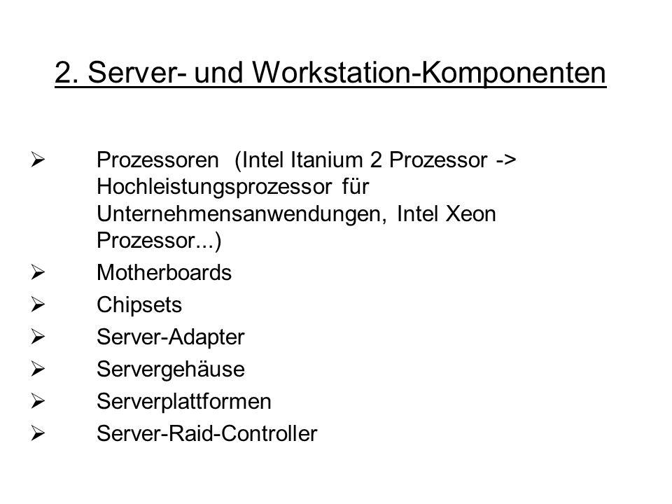 2. Server- und Workstation-Komponenten Prozessoren (Intel Itanium 2 Prozessor -> Hochleistungsprozessor für Unternehmensanwendungen, Intel Xeon Prozes
