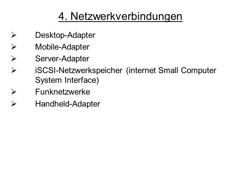 4. Netzwerkverbindungen Desktop-Adapter Mobile-Adapter Server-Adapter iSCSI-Netzwerkspeicher (internet Small Computer System Interface) Funknetzwerke