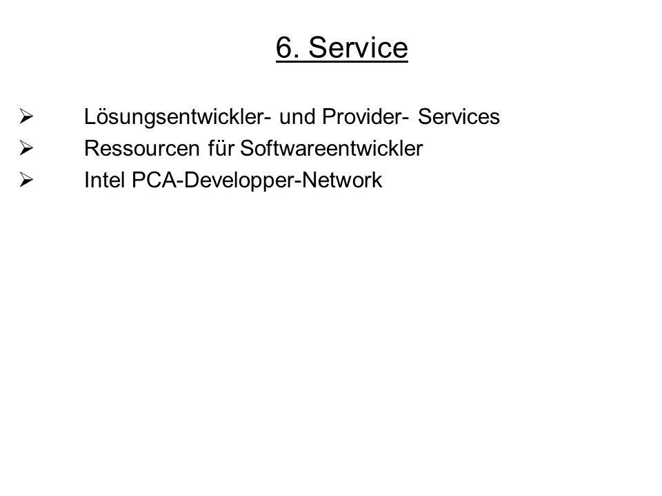 6. Service Lösungsentwickler- und Provider- Services Ressourcen für Softwareentwickler Intel PCA-Developper-Network