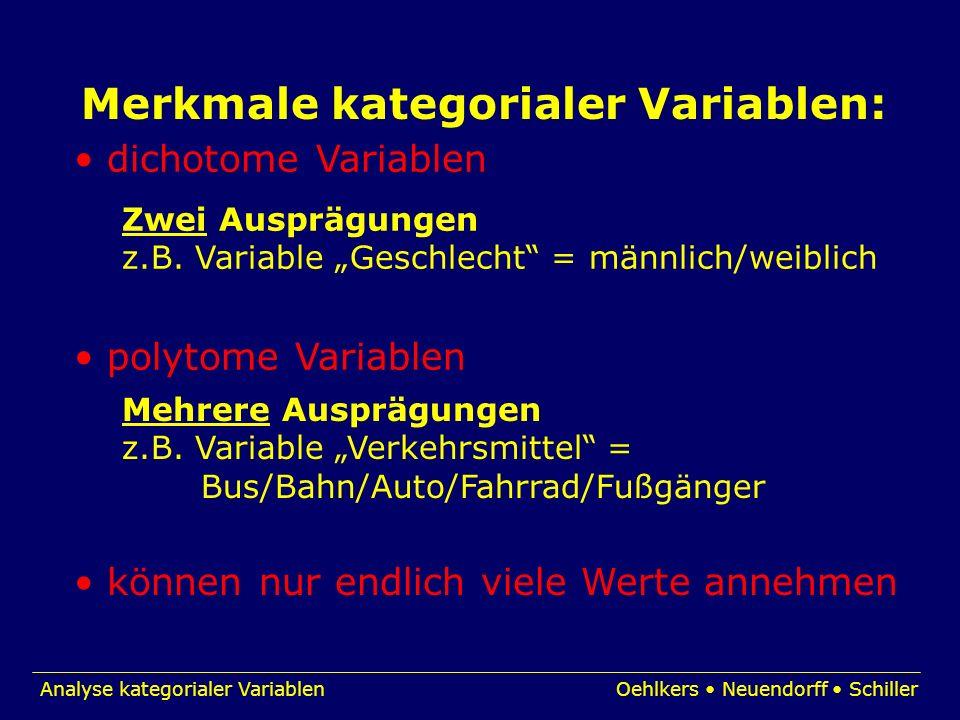 Analyse kategorialer VariablenOehlkers Neuendorff Schiller Merkmale kategorialer Variablen: dichotome Variablen polytome Variablen Zwei Ausprägungen z
