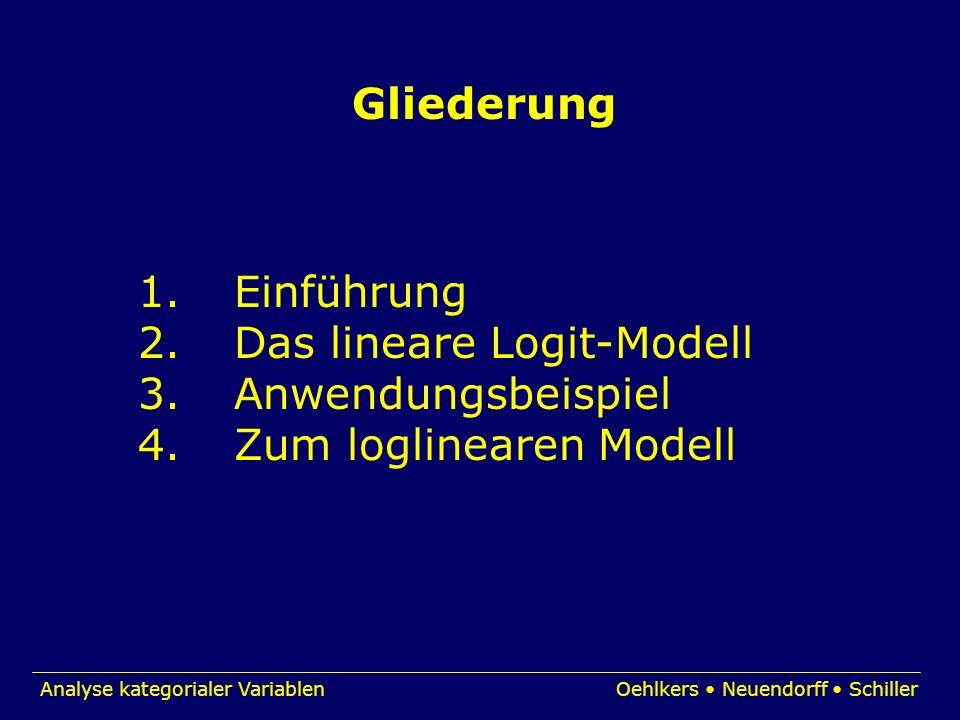 Analyse kategorialer VariablenOehlkers Neuendorff Schiller Gliederung 1.Einführung 2.Das lineare Logit-Modell 3.Anwendungsbeispiel 4.Zum loglinearen M