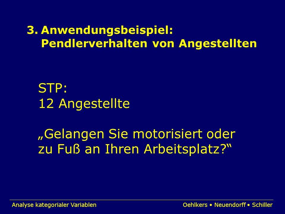 3.Anwendungsbeispiel: Pendlerverhalten von Angestellten STP: 12 Angestellte Gelangen Sie motorisiert oder zu Fuß an Ihren Arbeitsplatz?