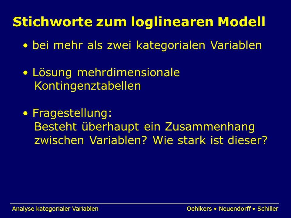 Analyse kategorialer VariablenOehlkers Neuendorff Schiller Stichworte zum loglinearen Modell bei mehr als zwei kategorialen Variablen Lösung mehrdimen