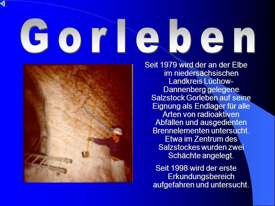 Seit 1979 wird der an der Elbe im niedersächsischen Landkreis Lüchow- Dannenberg gelegene Salzstock Gorleben auf seine Eignung als Endlager für alle Arten von radioaktiven Abfällen und ausgedienten Brennelementen untersucht.
