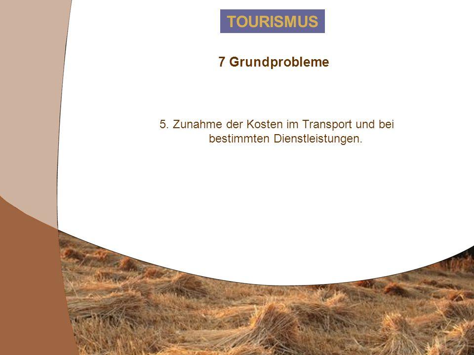 TOURISMUS 7 Grundprobleme 4. Schlechtes Preis-Leistungs-Verhältnis insbesondere außerhalb der Hotels (Restaurants, Tavernen etc).