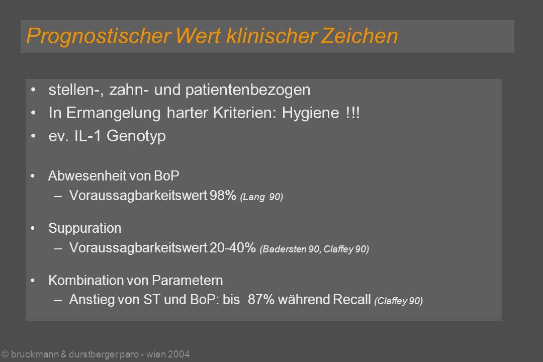 © bruckmann & durstberger paro - wien 2004 Prognostischer Wert klinischer Zeichen stellen-, zahn- und patientenbezogen In Ermangelung harter Kriterien: Hygiene !!.