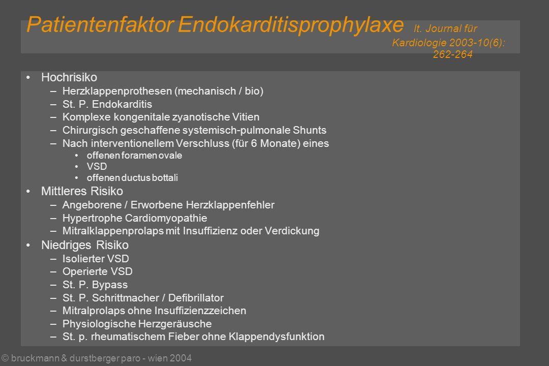 © bruckmann & durstberger paro - wien 2004 Patientenfaktor Endokarditisprophylaxe lt.