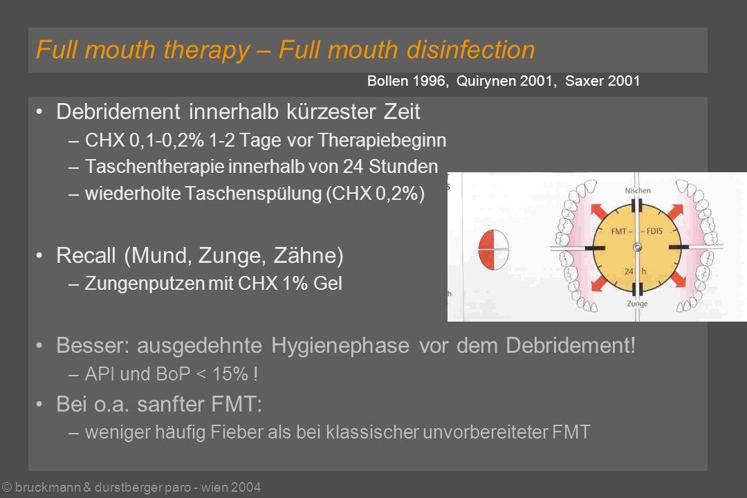 © bruckmann & durstberger paro - wien 2004 Full mouth therapy – Full mouth disinfection Bollen 1996, Quirynen 2001, Saxer 2001 Debridement innerhalb kürzester Zeit –CHX 0,1-0,2% 1-2 Tage vor Therapiebeginn –Taschentherapie innerhalb von 24 Stunden –wiederholte Taschenspülung (CHX 0,2%) Recall (Mund, Zunge, Zähne) –Zungenputzen mit CHX 1% Gel Besser: ausgedehnte Hygienephase vor dem Debridement.