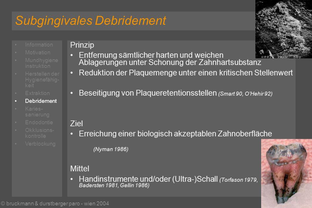 © bruckmann & durstberger paro - wien 2004 Subgingivales Debridement Prinzip Entfernung sämtlicher harten und weichen Ablagerungen unter Schonung der Zahnhartsubstanz Reduktion der Plaquemenge unter einen kritischen Stellenwert Beseitigung von Plaqueretentionsstellen (Smart 90, OHehir 92) Ziel Erreichung einer biologisch akzeptablen Zahnoberfläche (Nyman 1986) Mittel Handinstrumente und/oder (Ultra-)Schall (Torfason 1979, Badersten 1981, Gellin 1986) Information Motivation Mundhygiene instruktion Herstellen der Hygienefähig- keit Extraktion Debridement Karies- sanierung Endodontie Okklusions- kontrolle Verblockung