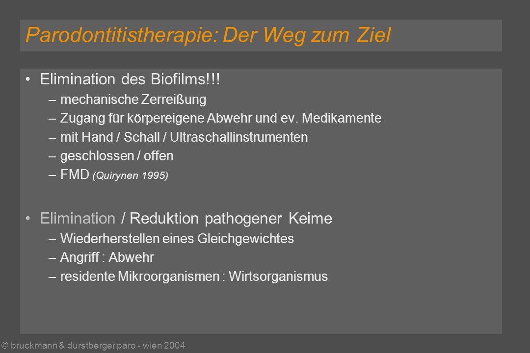 © bruckmann & durstberger paro - wien 2004 Parodontitistherapie: Der Weg zum Ziel Elimination des Biofilms!!.