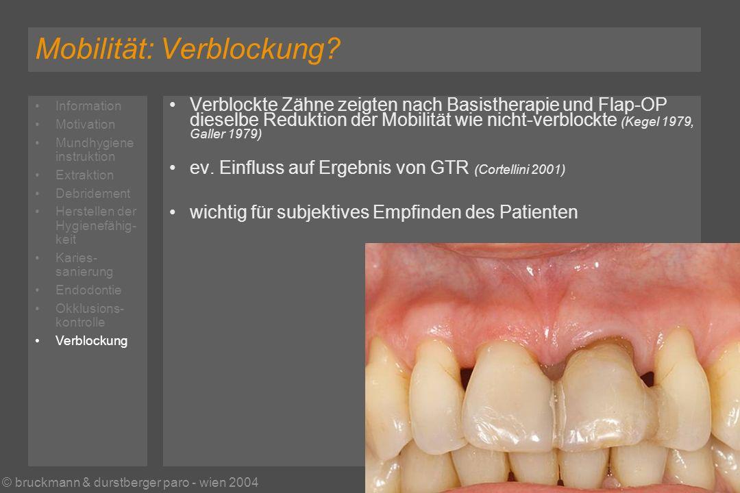 © bruckmann & durstberger paro - wien 2004 Mobilität: Verblockung.