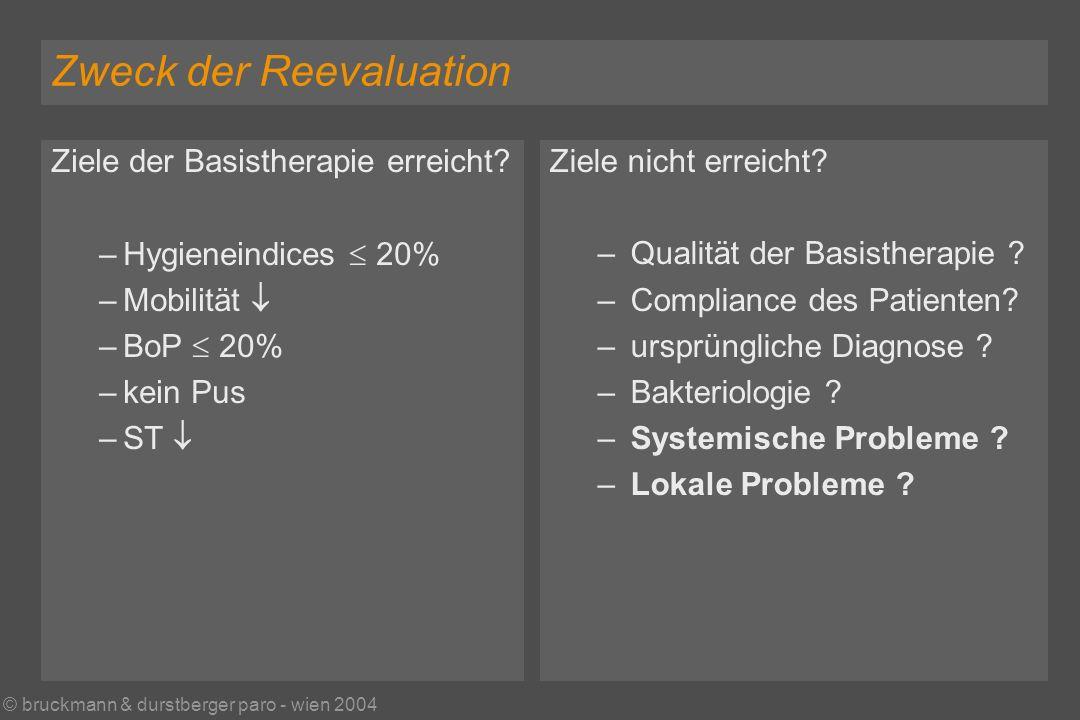 © bruckmann & durstberger paro - wien 2004 Zweck der Reevaluation Ziele der Basistherapie erreicht.