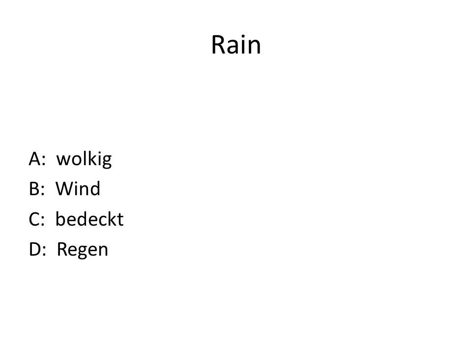 Rain A: wolkig B: Wind C: bedeckt D: Regen