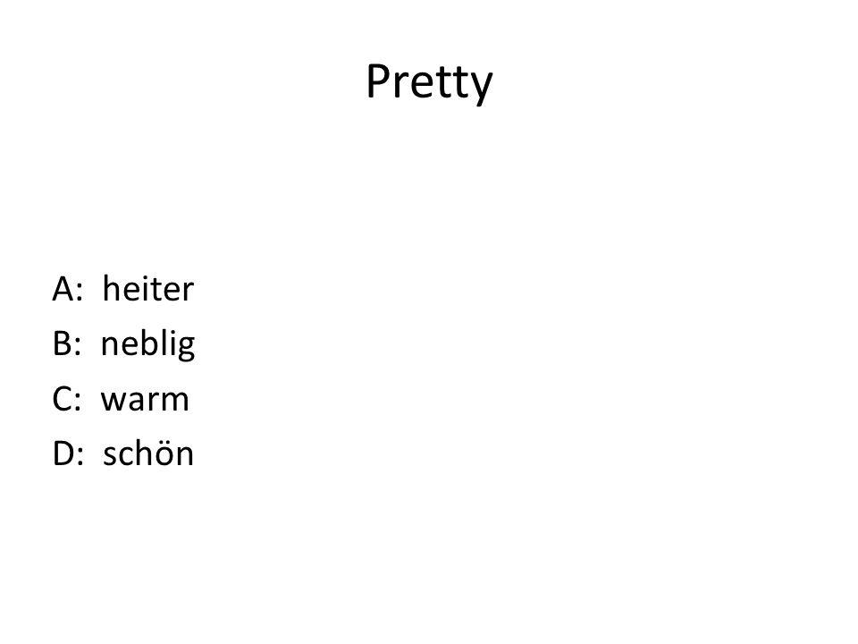 Pretty A: heiter B: neblig C: warm D: schön