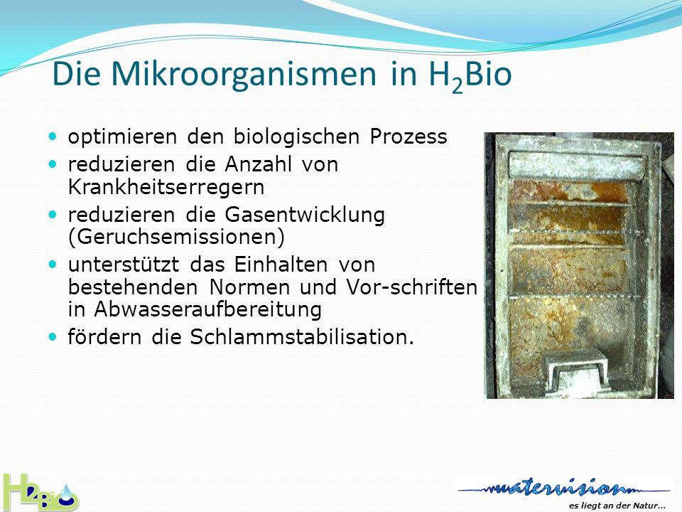 es liegt an der Natur… H 2 Bio - aerob und anaerob effektiv H 2 Bio ist ein Produkt die sich eignet im aeroben und anaeroben Bereich, ist völlig ungiftig und hoch wirksam im biologischen Abbau von organischen Stoffen (inklusive Fetten) sowie in der Reduktion von Stickstoffen.