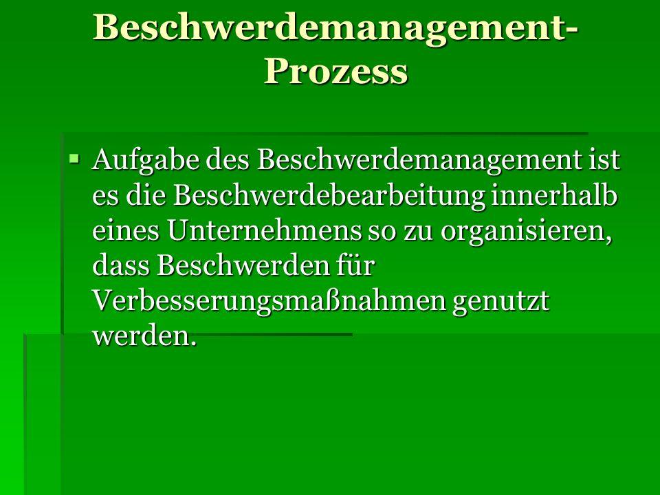 Beschwerdemanagement- Prozess Aufgabe des Beschwerdemanagement ist es die Beschwerdebearbeitung innerhalb eines Unternehmens so zu organisieren, dass