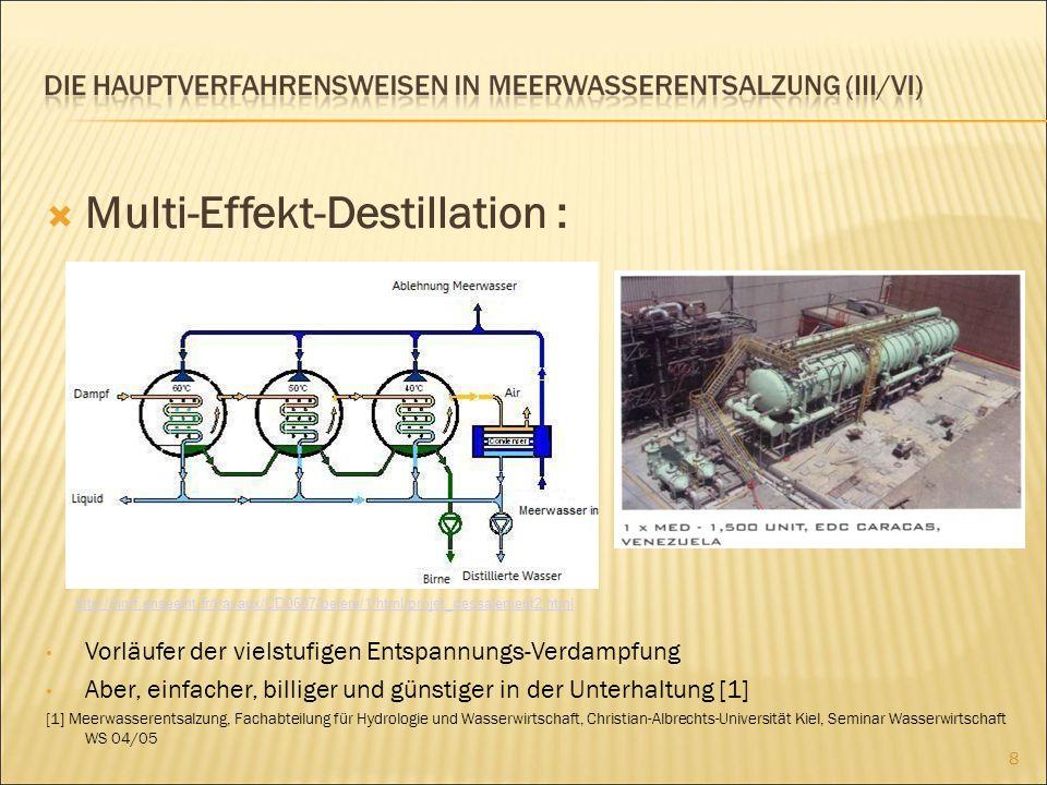 Elektrodialyse Wird für die Entsalzung des Brackwassers verwendet (Salzgehalt < 500 mg/l) 9 http://www.fumatech.com/NR/rdonlyres/E21E7965-198E-4093-AB90-36CB5F21134C/13105/elektrodialyse1.jpg