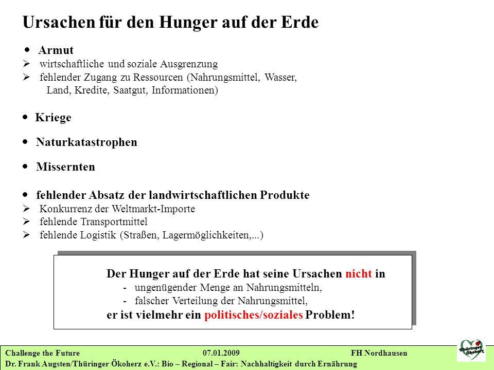 Challenge the Future 07.01.2009 FH Nordhausen Dr. Frank Augsten/Thüringer Ökoherz e.V.: Bio – Regional – Fair: Nachhaltigkeit durch Ernährung Ursachen