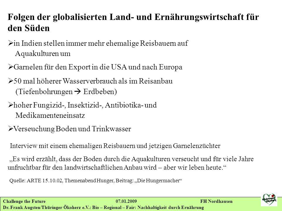 Challenge the Future 07.01.2009 FH Nordhausen Dr. Frank Augsten/Thüringer Ökoherz e.V.: Bio – Regional – Fair: Nachhaltigkeit durch Ernährung Folgen d